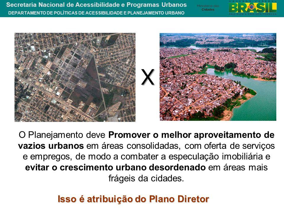 DEPARTAMENTO DE POLÍTICAS DE ACESSIBILIDADE E PLANEJAMENTO URBANO Secretaria Nacional de Acessibilidade e Programas Urbanos X O Planejamento deve Prom