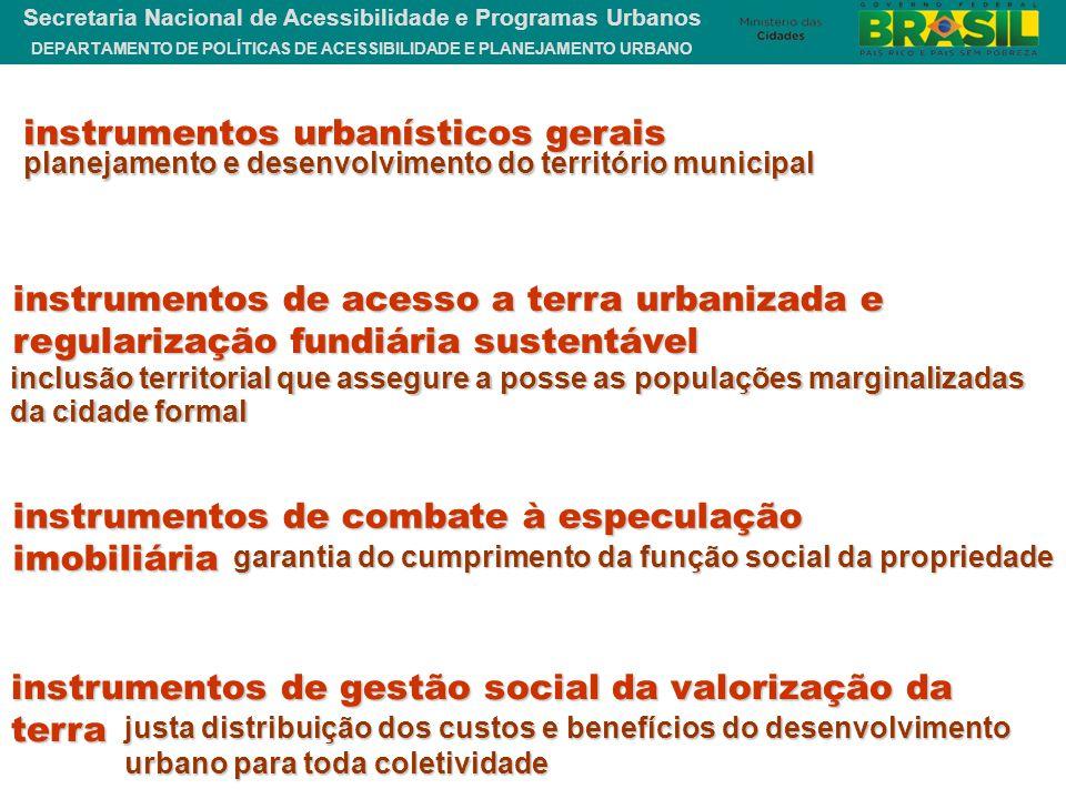 DEPARTAMENTO DE POLÍTICAS DE ACESSIBILIDADE E PLANEJAMENTO URBANO Secretaria Nacional de Acessibilidade e Programas Urbanos instrumentos de acesso a t