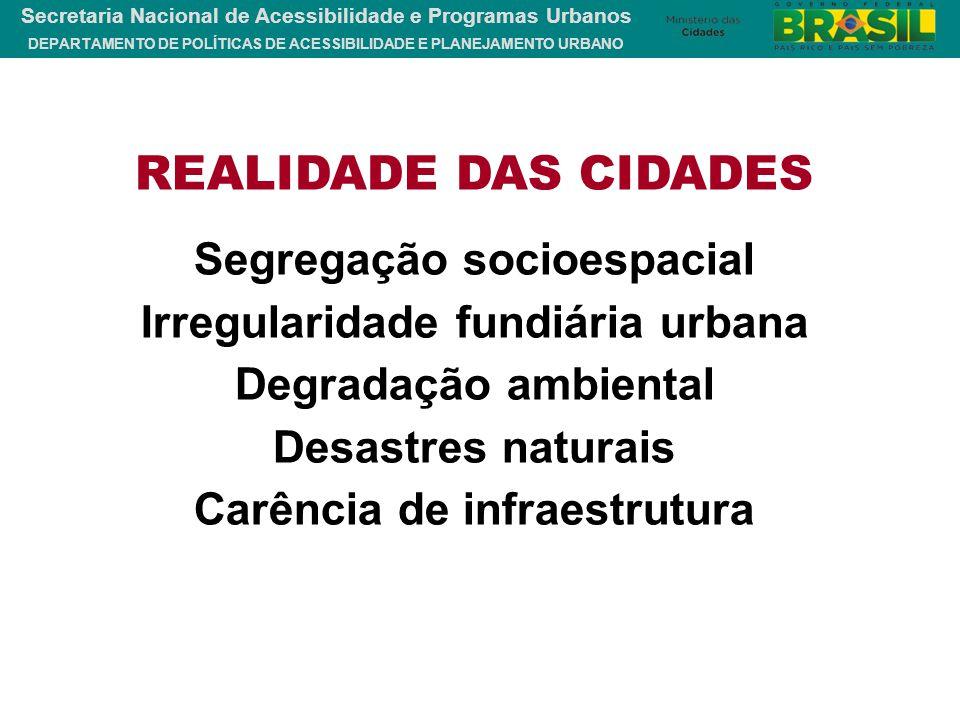 DEPARTAMENTO DE POLÍTICAS DE ACESSIBILIDADE E PLANEJAMENTO URBANO Secretaria Nacional de Acessibilidade e Programas Urbanos REALIDADE DAS CIDADES Segr