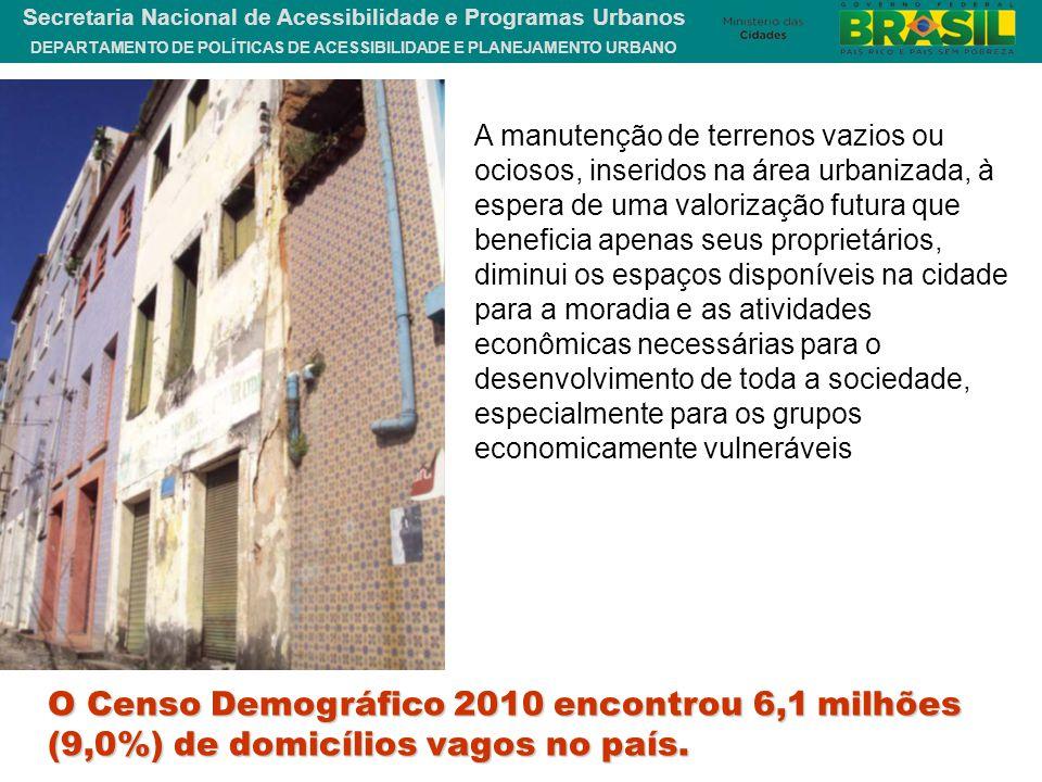 DEPARTAMENTO DE POLÍTICAS DE ACESSIBILIDADE E PLANEJAMENTO URBANO Secretaria Nacional de Acessibilidade e Programas Urbanos O Censo Demográfico 2010 e