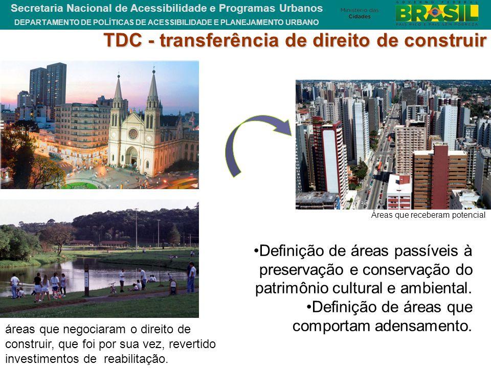 DEPARTAMENTO DE POLÍTICAS DE ACESSIBILIDADE E PLANEJAMENTO URBANO Secretaria Nacional de Acessibilidade e Programas Urbanos TDC - transferência de dir