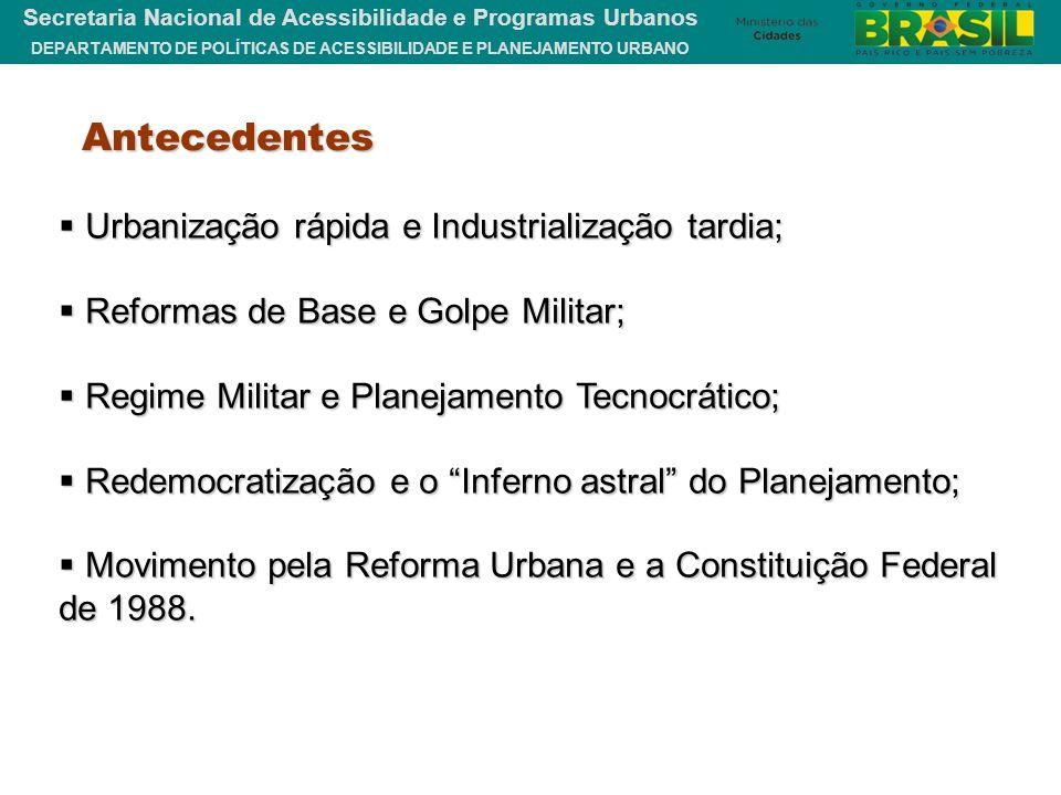 DEPARTAMENTO DE POLÍTICAS DE ACESSIBILIDADE E PLANEJAMENTO URBANO Secretaria Nacional de Acessibilidade e Programas Urbanos Antecedentes  Urbanização
