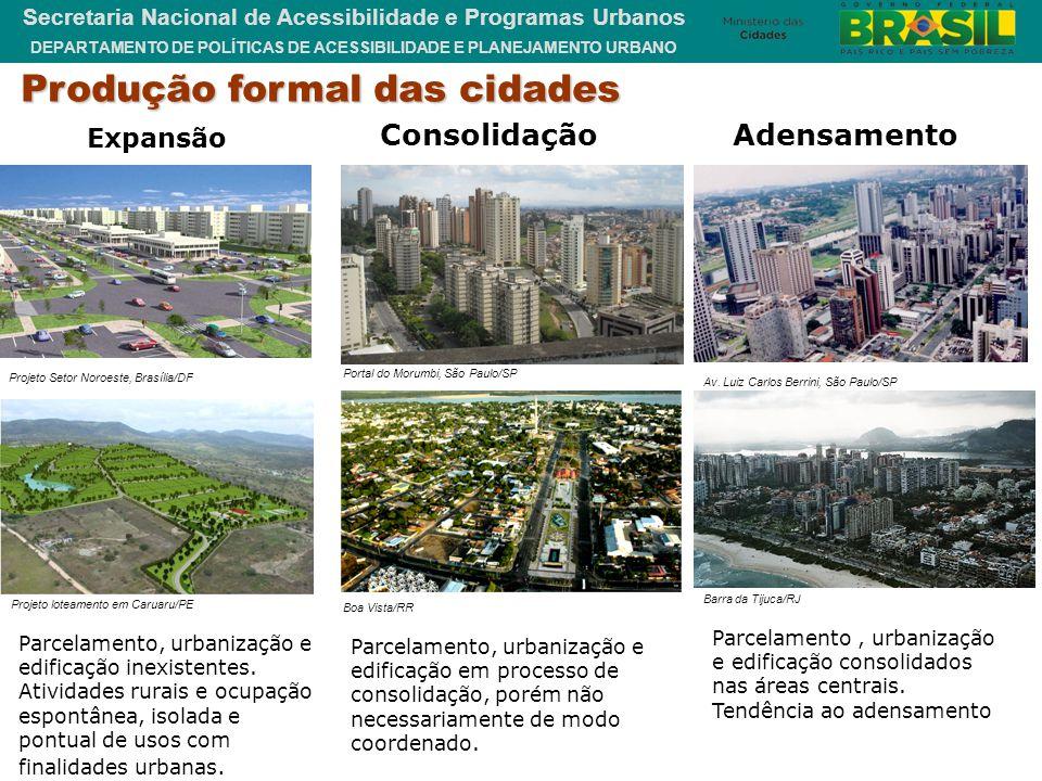 DEPARTAMENTO DE POLÍTICAS DE ACESSIBILIDADE E PLANEJAMENTO URBANO Secretaria Nacional de Acessibilidade e Programas Urbanos Produção formal das cidade