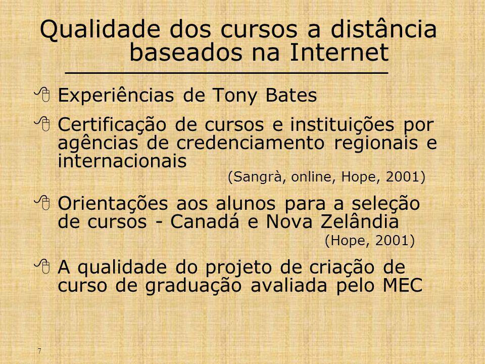 7 Qualidade dos cursos a distância baseados na Internet  Experiências de Tony Bates  Certificação de cursos e instituições por agências de credenciamento regionais e internacionais (Sangrà, online, Hope, 2001)  Orientações aos alunos para a seleção de cursos - Canadá e Nova Zelândia (Hope, 2001)  A qualidade do projeto de criação de curso de graduação avaliada pelo MEC