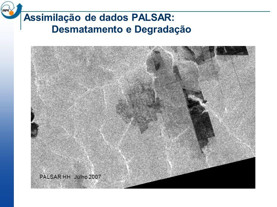 Assimilação de dados PALSAR: Desmatamento e Degradação PALSAR HH Julho 2007