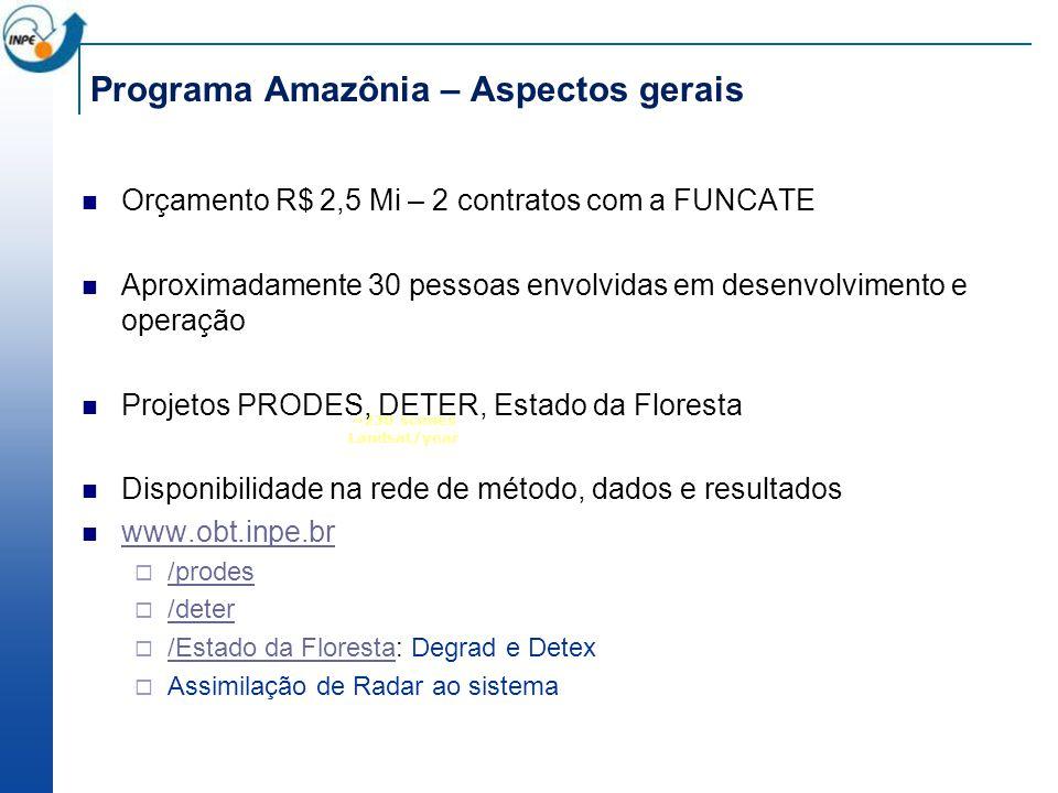 ~230 scenes Landsat/year Programa Amazônia – Aspectos gerais Orçamento R$ 2,5 Mi – 2 contratos com a FUNCATE Aproximadamente 30 pessoas envolvidas em