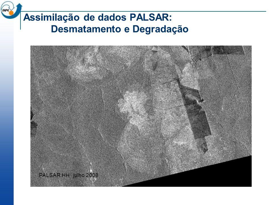 Assimilação de dados PALSAR: Desmatamento e Degradação PALSAR HH julho 2008