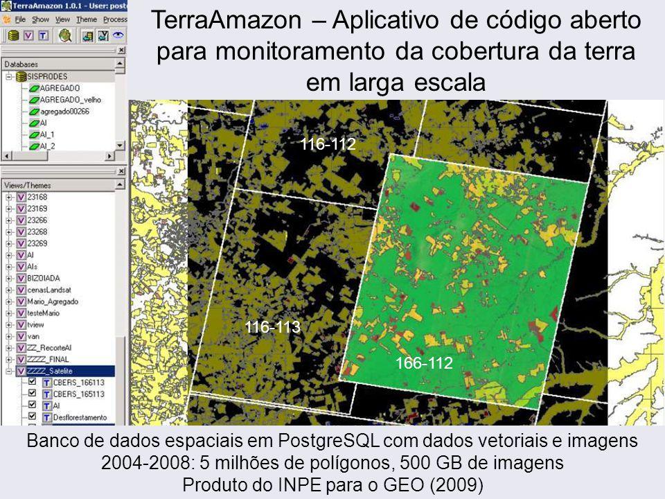 166-112 116-113 116-112 TerraAmazon – Aplicativo de código aberto para monitoramento da cobertura da terra em larga escala Banco de dados espaciais em