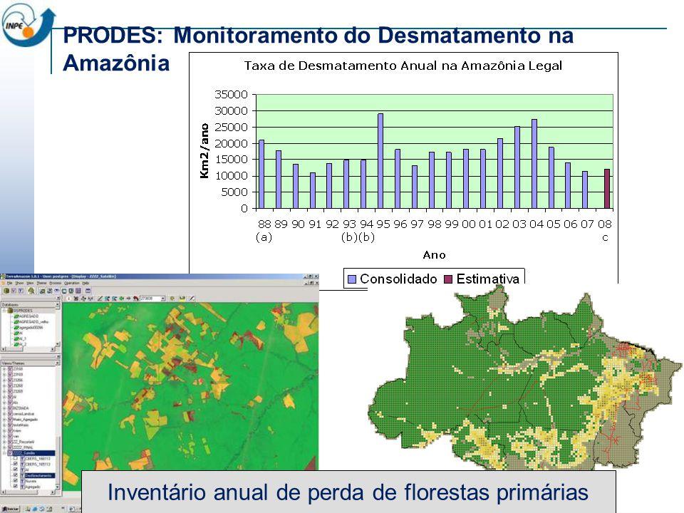 ~230 scenes Landsat/year PRODES: Monitoramento do Desmatamento na Amazônia A partir de 2004, entrega da primeira estimativa no próprio ano de integração (agosto-julho) Multi-sensor – Landsat, CCD/CBERS, DMC e SPOT Datas das imagens próximas à data de referência Inserção no PPCDAM Subsídio às posições brasileiras nas Convenções para Carbono e Mudança Climática e Biodiversidade