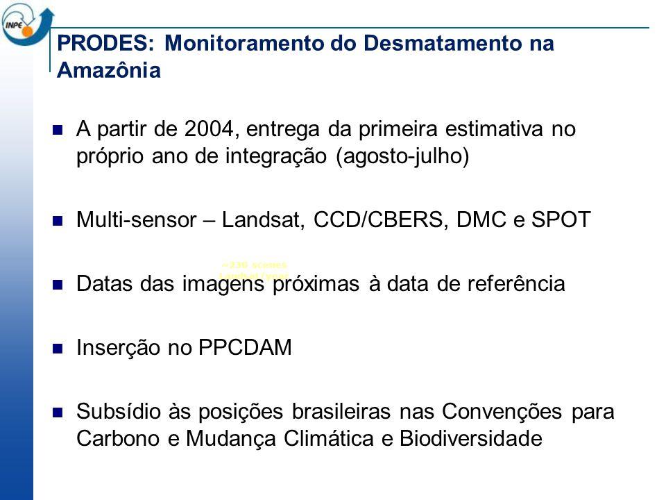 ~230 scenes Landsat/year PRODES: Monitoramento do Desmatamento na Amazônia A partir de 2004, entrega da primeira estimativa no próprio ano de integraç