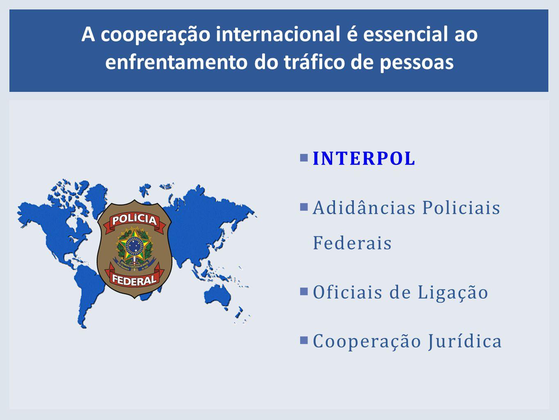  INTERPOL  Adidâncias PoliciaisFederais  Oficiais de Ligação  Cooperação Jurídica A cooperação internacional é essencial ao enfrentamento do tráfico de pessoas