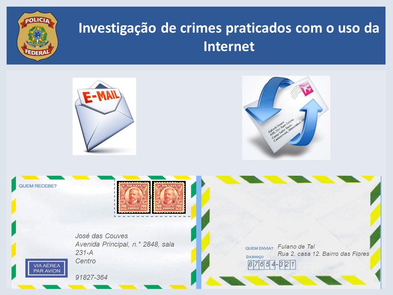 Investigação de crimes praticados com o uso da Internet Fulano de Tal Rua 2, casa 12. Bairro das Flores 8 7 6 5 43 2 1 José das Couves Avenida Princip