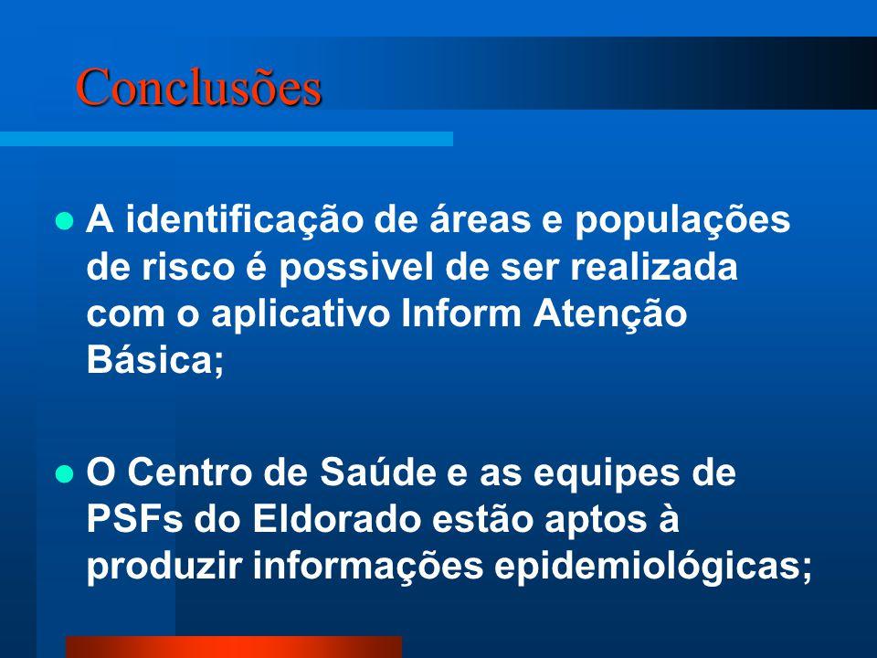 Conclusões A identificação de áreas e populações de risco é possivel de ser realizada com o aplicativo Inform Atenção Básica; O Centro de Saúde e as e