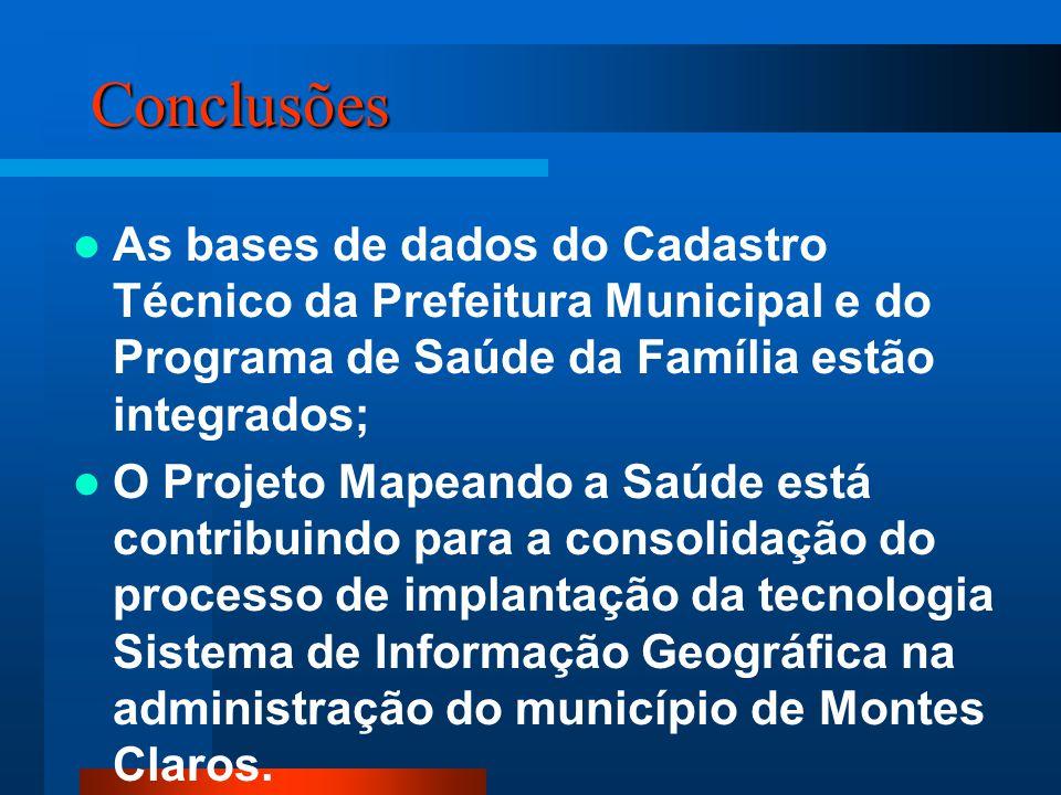 Conclusões As bases de dados do Cadastro Técnico da Prefeitura Municipal e do Programa de Saúde da Família estão integrados; O Projeto Mapeando a Saúd