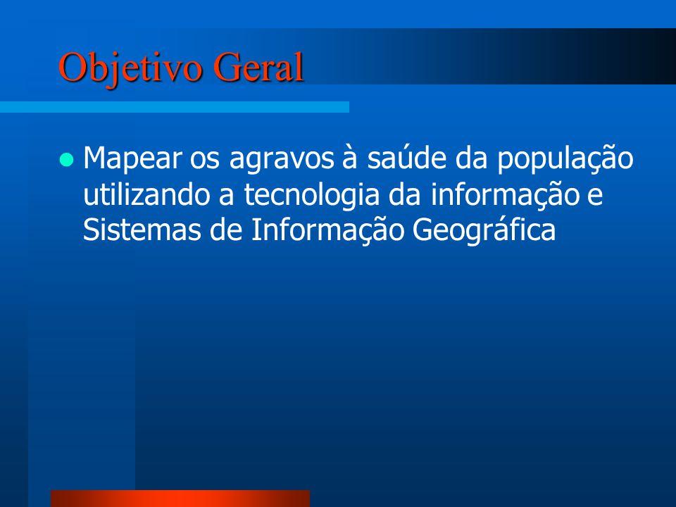 Objetivo Geral Mapear os agravos à saúde da população utilizando a tecnologia da informação e Sistemas de Informação Geográfica