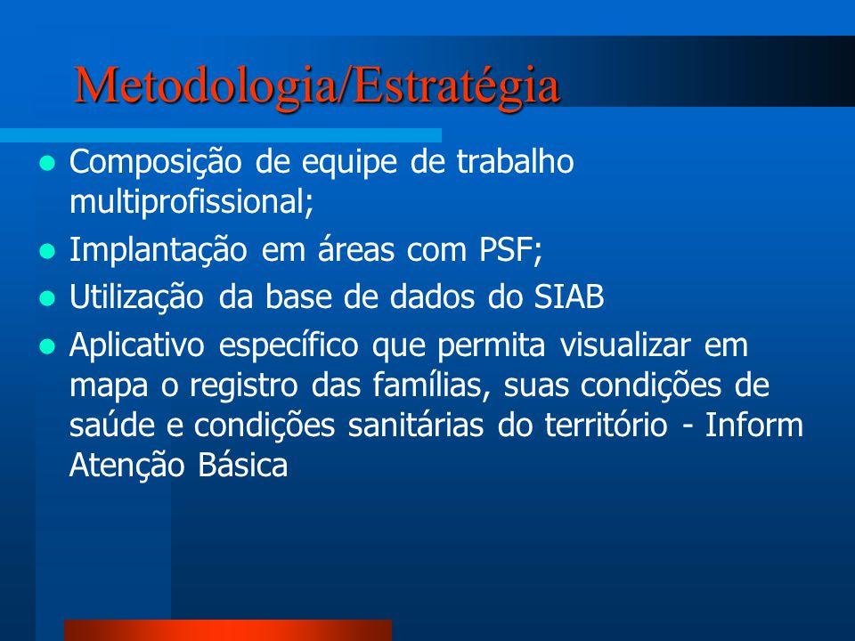 Metodologia/Estratégia Composição de equipe de trabalho multiprofissional; Implantação em áreas com PSF; Utilização da base de dados do SIAB Aplicativ