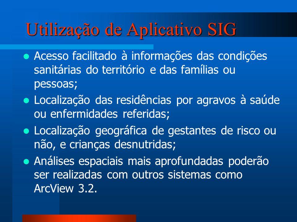 Utilização de Aplicativo SIG Acesso facilitado à informações das condições sanitárias do território e das famílias ou pessoas; Localização das residên