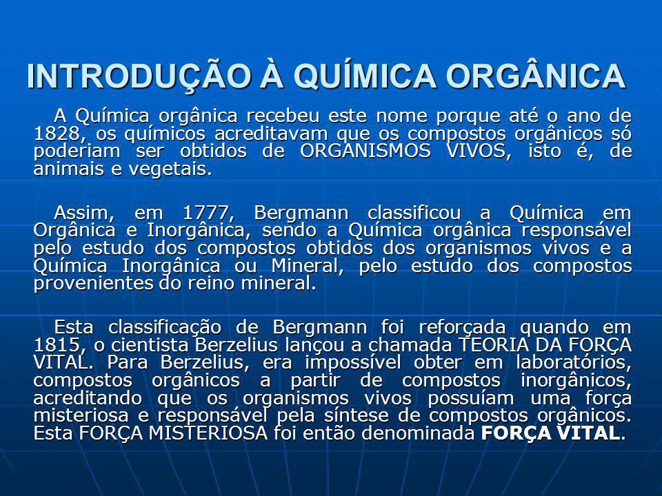 INTRODUÇÃO À QUÍMICA ORGÂNICA A Química orgânica recebeu este nome porque até o ano de 1828, os químicos acreditavam que os compostos orgânicos só poderiam ser obtidos de ORGANISMOS VIVOS, isto é, de animais e vegetais.