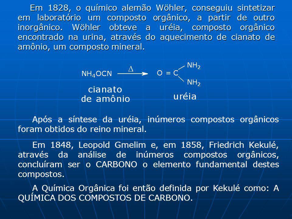 Em 1828, o químico alemão Wöhler, conseguiu sintetizar em laboratório um composto orgânico, a partir de outro inorgânico.