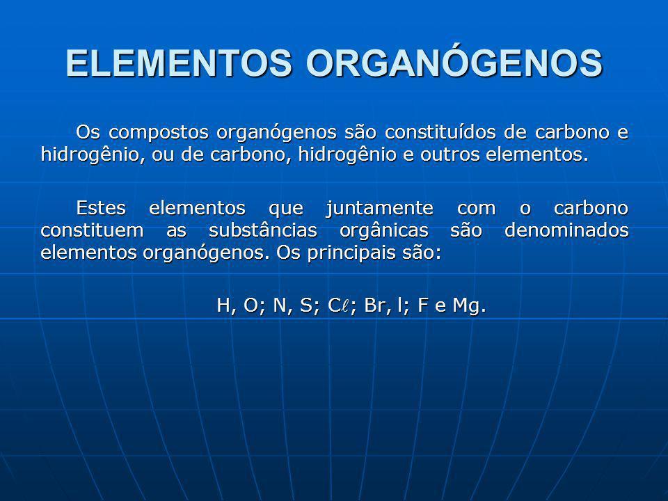 ELEMENTOS ORGANÓGENOS Os compostos organógenos são constituídos de carbono e hidrogênio, ou de carbono, hidrogênio e outros elementos.