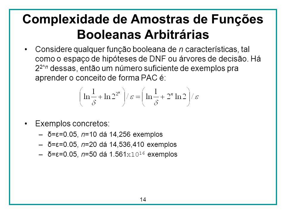 14 Complexidade de Amostras de Funções Booleanas Arbitrárias Considere qualquer função booleana de n características, tal como o espaço de hipóteses de DNF ou árvores de decisão.