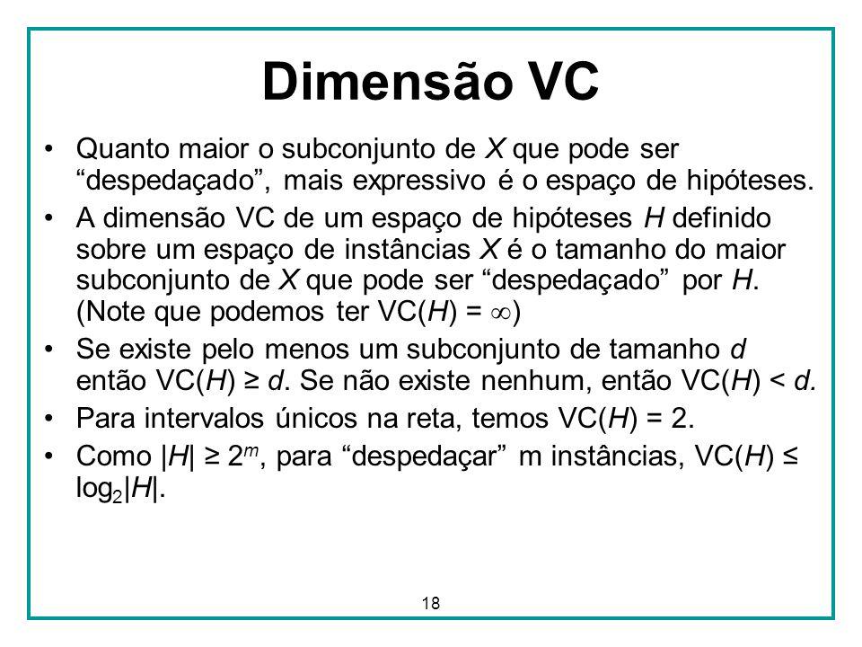 """18 Dimensão VC Quanto maior o subconjunto de X que pode ser """"despedaçado"""", mais expressivo é o espaço de hipóteses. A dimensão VC de um espaço de hipó"""
