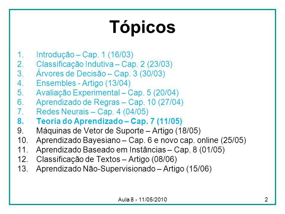 Aula 8 - 11/05/2010 Tópicos 1.Introdução – Cap. 1 (16/03) 2.Classificação Indutiva – Cap. 2 (23/03) 3.Árvores de Decisão – Cap. 3 (30/03) 4.Ensembles