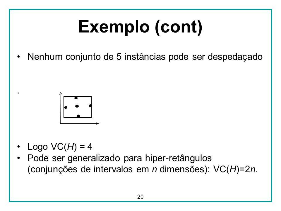 20 Exemplo (cont) Nenhum conjunto de 5 instâncias pode ser despedaçado. Logo VC(H) = 4 Pode ser generalizado para hiper-retângulos (conjunções de inte