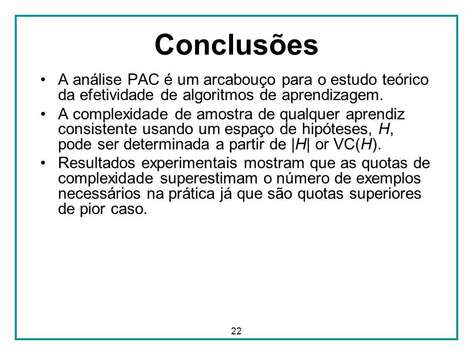22 Conclusões A análise PAC é um arcabouço para o estudo teórico da efetividade de algoritmos de aprendizagem. A complexidade de amostra de qualquer a