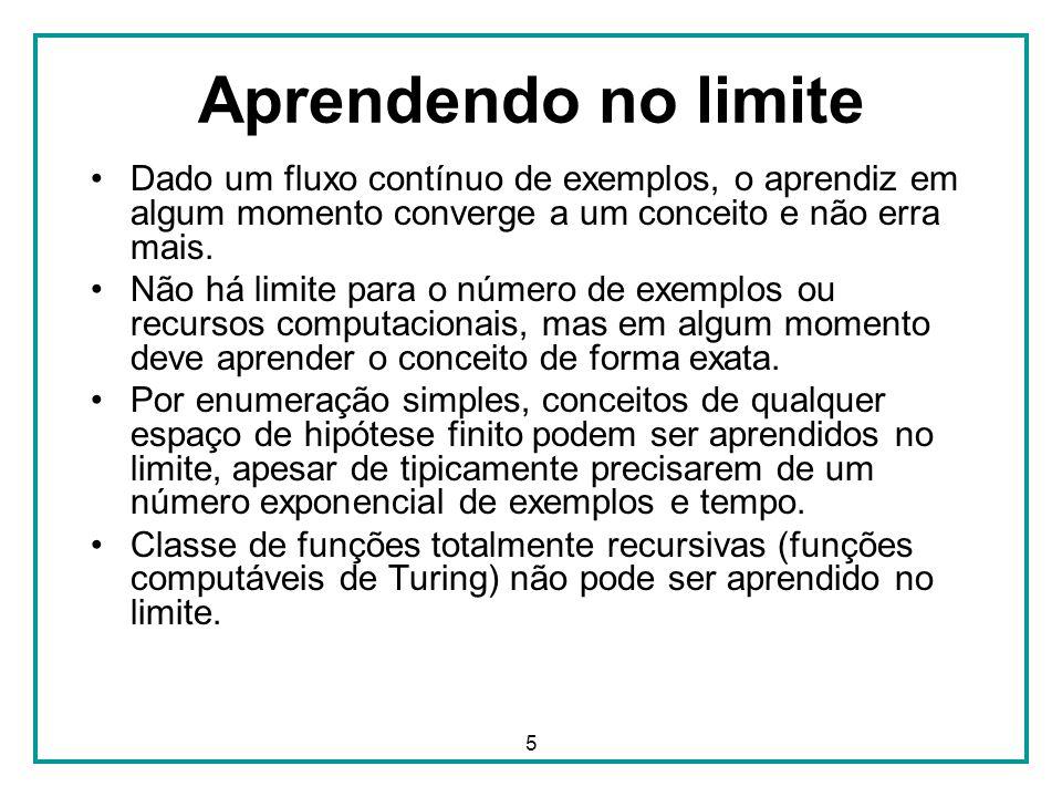 5 Aprendendo no limite Dado um fluxo contínuo de exemplos, o aprendiz em algum momento converge a um conceito e não erra mais. Não há limite para o nú