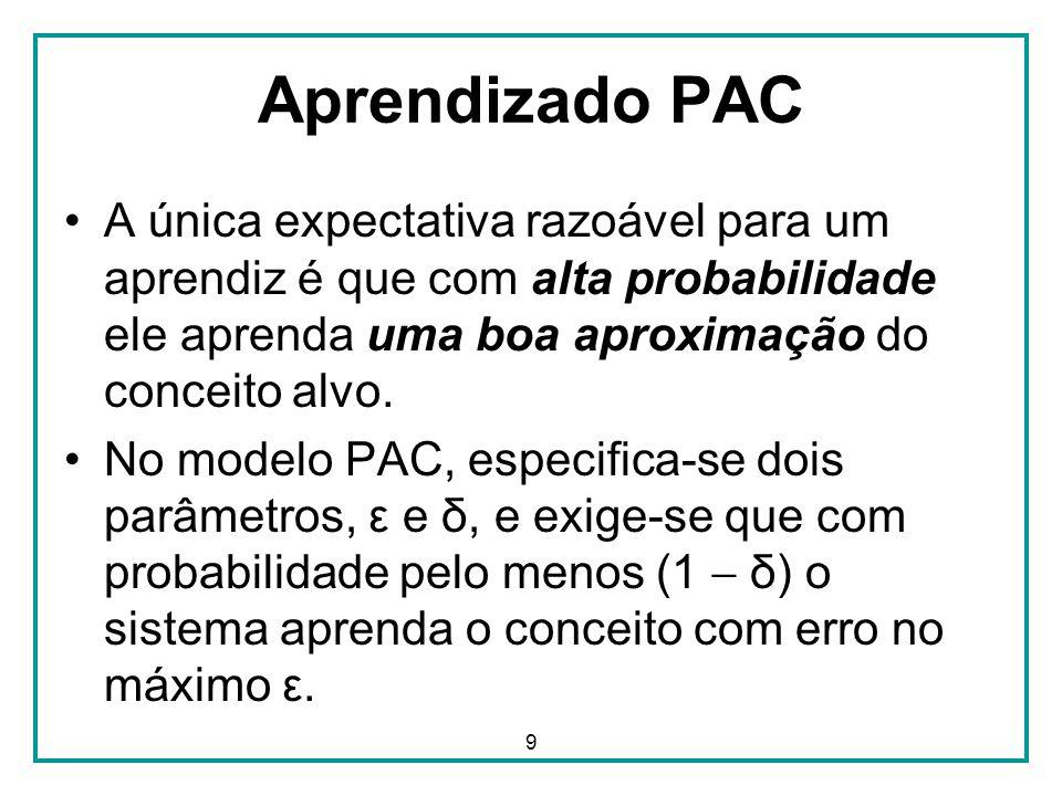 9 Aprendizado PAC A única expectativa razoável para um aprendiz é que com alta probabilidade ele aprenda uma boa aproximação do conceito alvo.