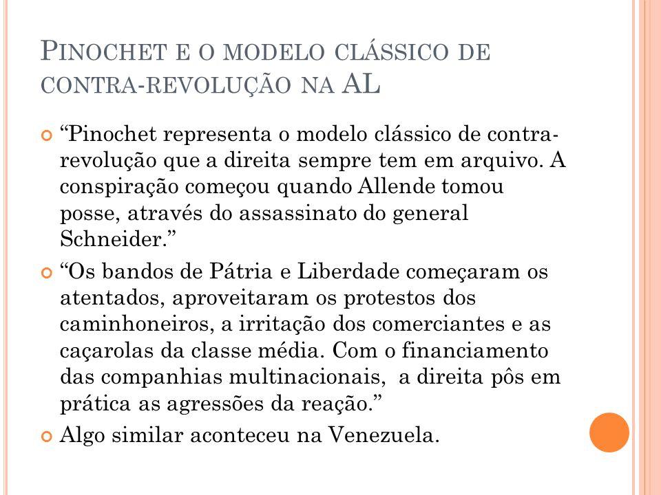 """P INOCHET E O MODELO CLÁSSICO DE CONTRA - REVOLUÇÃO NA AL """"Pinochet representa o modelo clássico de contra- revolução que a direita sempre tem em arqu"""