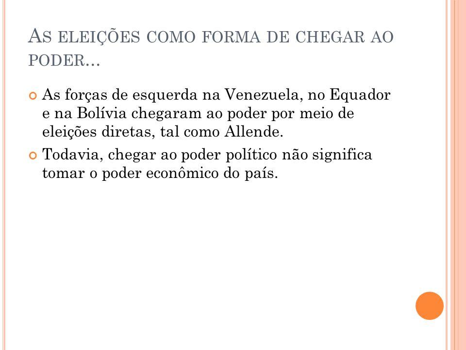 A S ELEIÇÕES COMO FORMA DE CHEGAR AO PODER... As forças de esquerda na Venezuela, no Equador e na Bolívia chegaram ao poder por meio de eleições diret