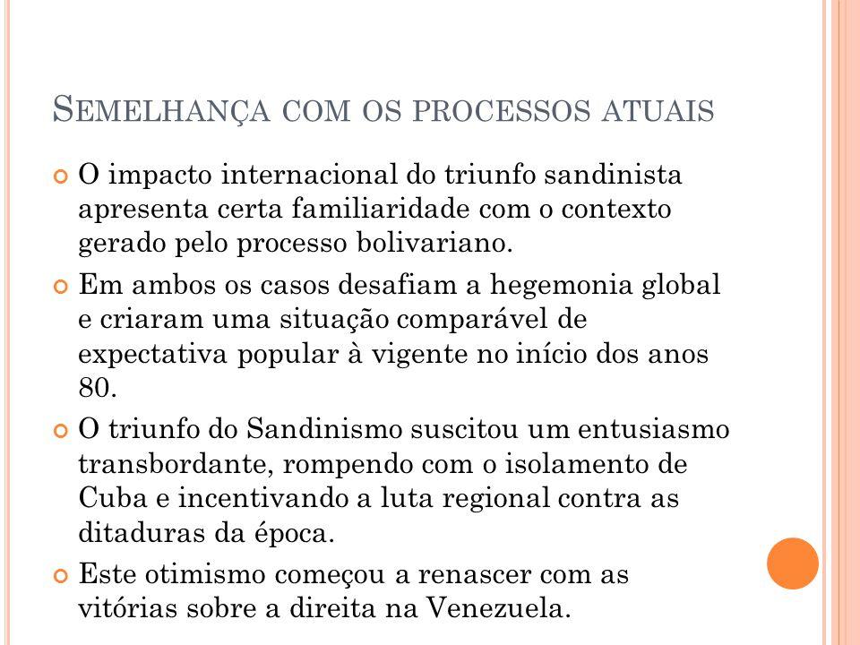 S EMELHANÇA COM OS PROCESSOS ATUAIS O impacto internacional do triunfo sandinista apresenta certa familiaridade com o contexto gerado pelo processo bo