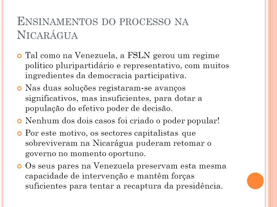 E NSINAMENTOS DO PROCESSO NA N ICARÁGUA Tal como na Venezuela, a FSLN gerou um regime político pluripartidário e representativo, com muitos ingredient