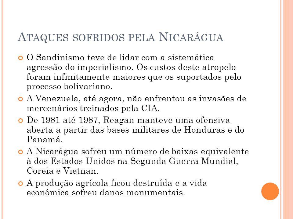 A TAQUES SOFRIDOS PELA N ICARÁGUA O Sandinismo teve de lidar com a sistemática agressão do imperialismo. Os custos deste atropelo foram infinitamente