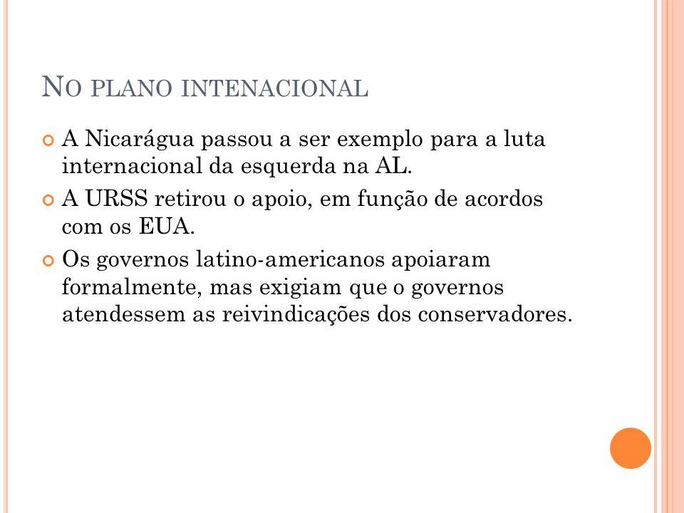 N O PLANO INTENACIONAL A Nicarágua passou a ser exemplo para a luta internacional da esquerda na AL. A URSS retirou o apoio, em função de acordos com