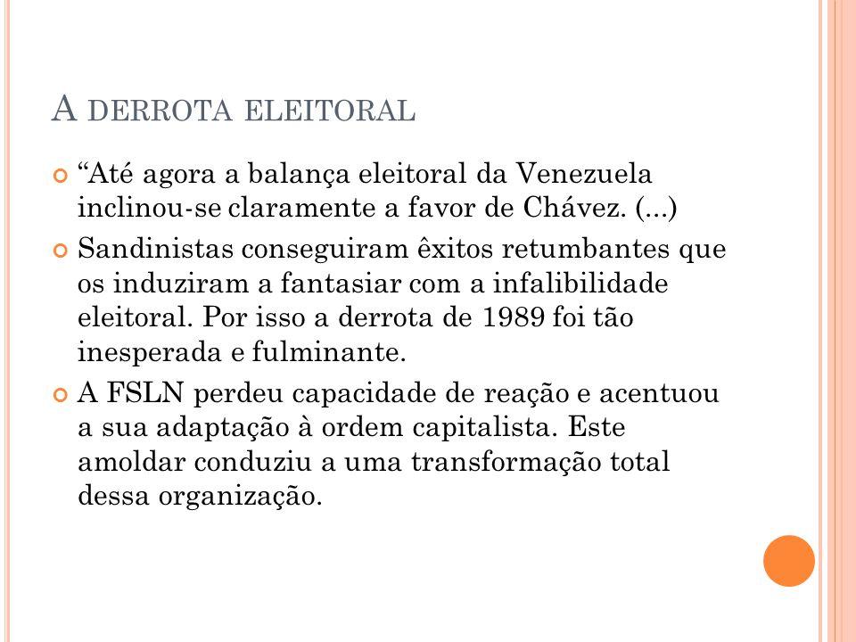 """A DERROTA ELEITORAL """"Até agora a balança eleitoral da Venezuela inclinou-se claramente a favor de Chávez. (...) Sandinistas conseguiram êxitos retumba"""