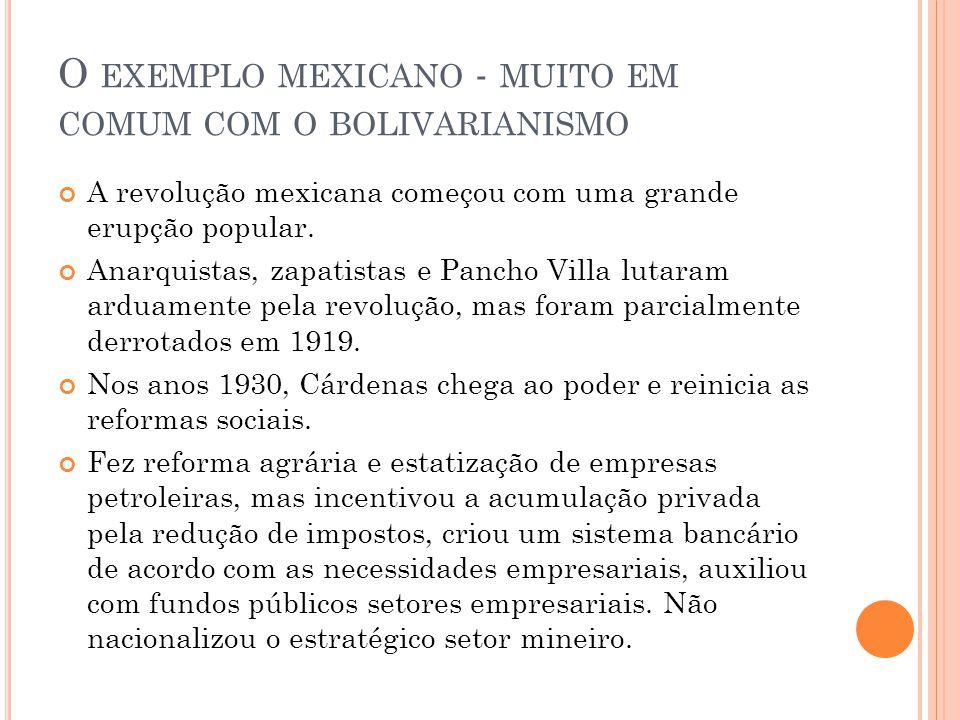 O EXEMPLO MEXICANO - MUITO EM COMUM COM O BOLIVARIANISMO A revolução mexicana começou com uma grande erupção popular. Anarquistas, zapatistas e Pancho