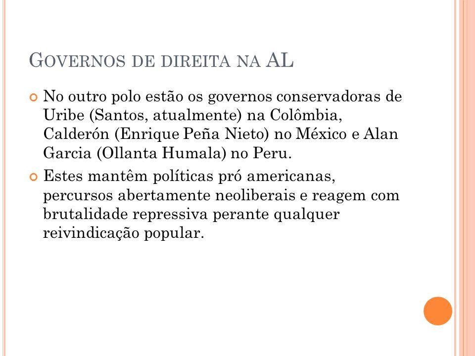 G OVERNOS DE DIREITA NA AL No outro polo estão os governos conservadoras de Uribe (Santos, atualmente) na Colômbia, Calderón (Enrique Peña Nieto) no M