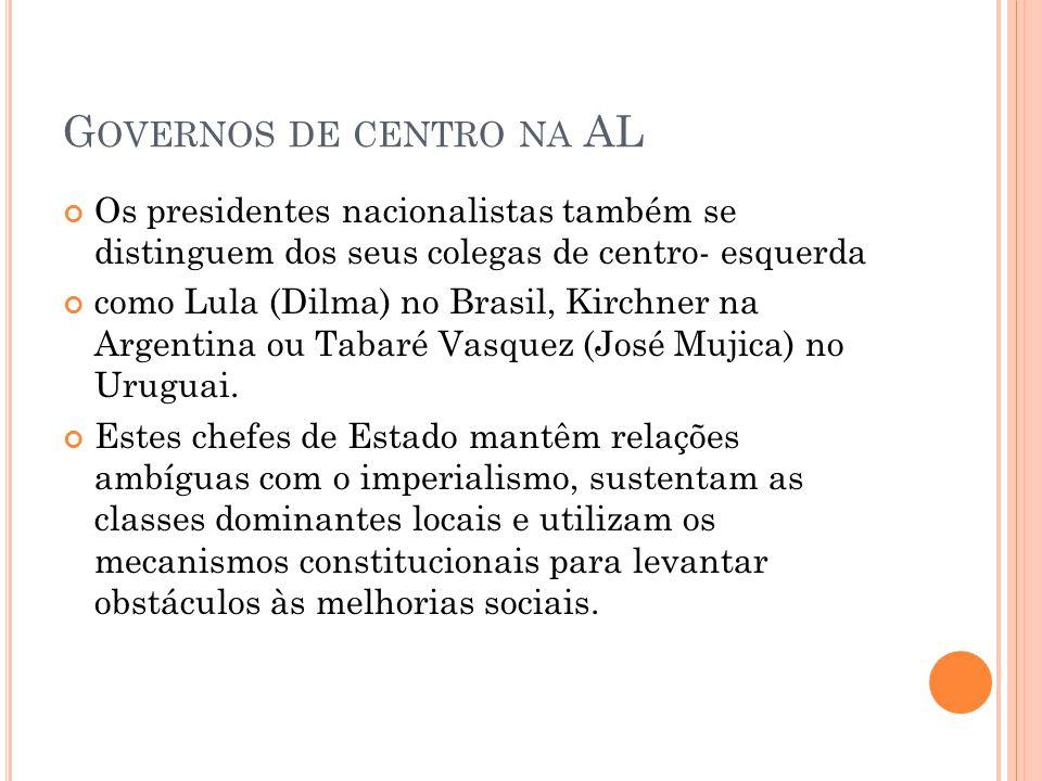 G OVERNOS DE CENTRO NA AL Os presidentes nacionalistas também se distinguem dos seus colegas de centro- esquerda como Lula (Dilma) no Brasil, Kirchner