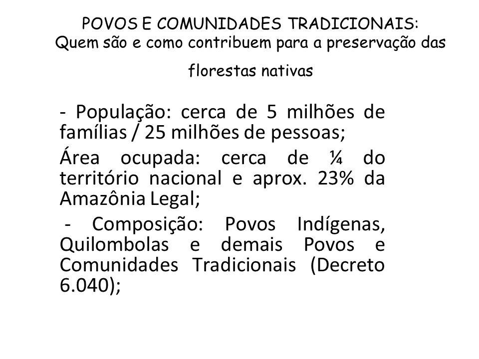 POVOS E COMUNIDADES TRADICIONAIS: Quem são e como contribuem para a preservação das florestas nativas - População: cerca de 5 milhões de famílias / 25