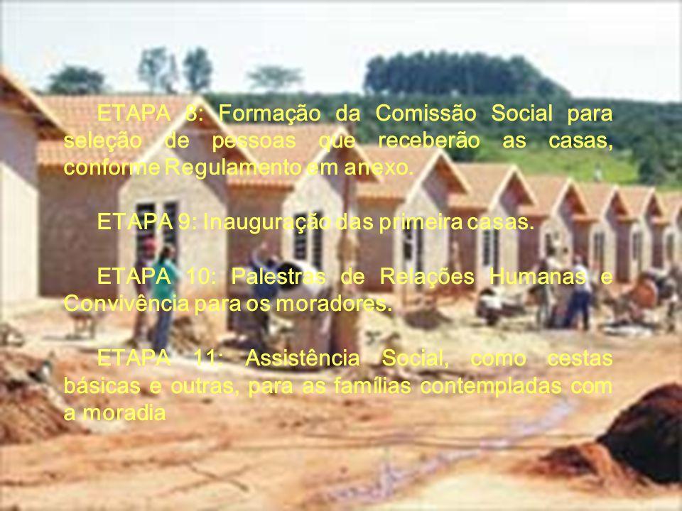 ETAPA 8: Formação da Comissão Social para seleção de pessoas que receberão as casas, conforme Regulamento em anexo.