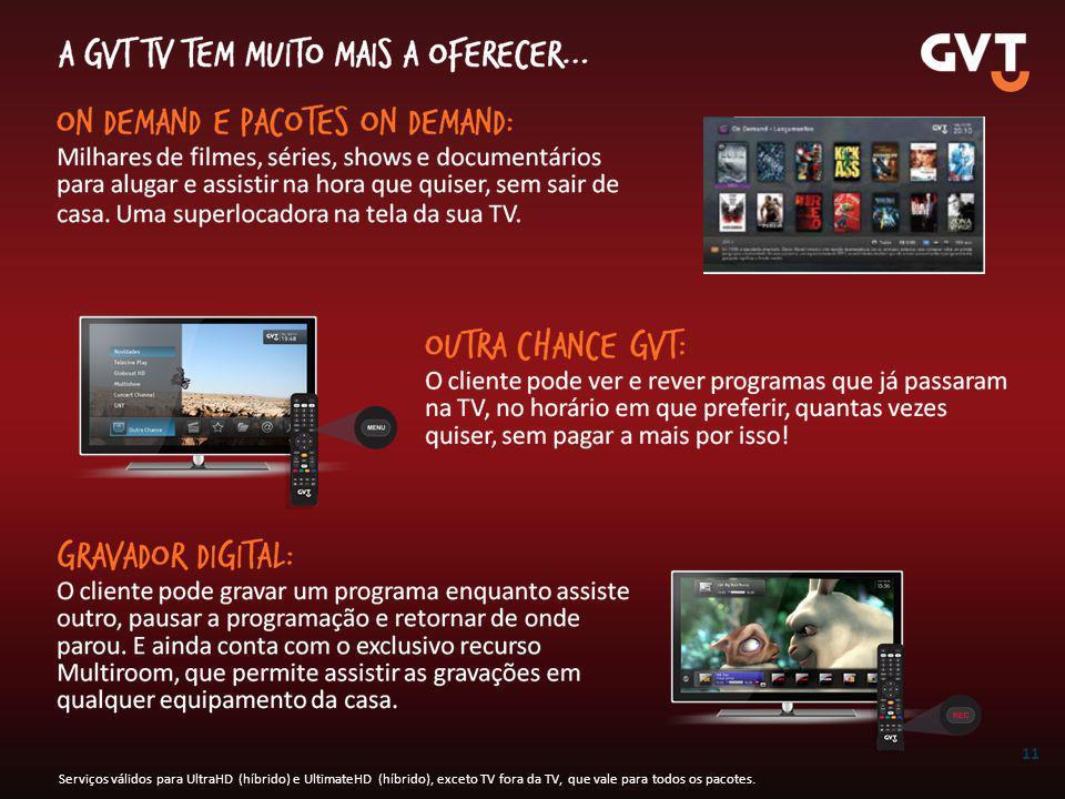11 Serviços válidos para UltraHD (híbrido) e UltimateHD (híbrido), exceto TV fora da TV, que vale para todos os pacotes.
