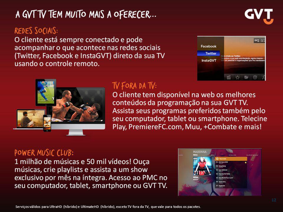 12 Serviços válidos para UltraHD (híbrido) e UltimateHD (híbrido), exceto TV fora da TV, que vale para todos os pacotes.