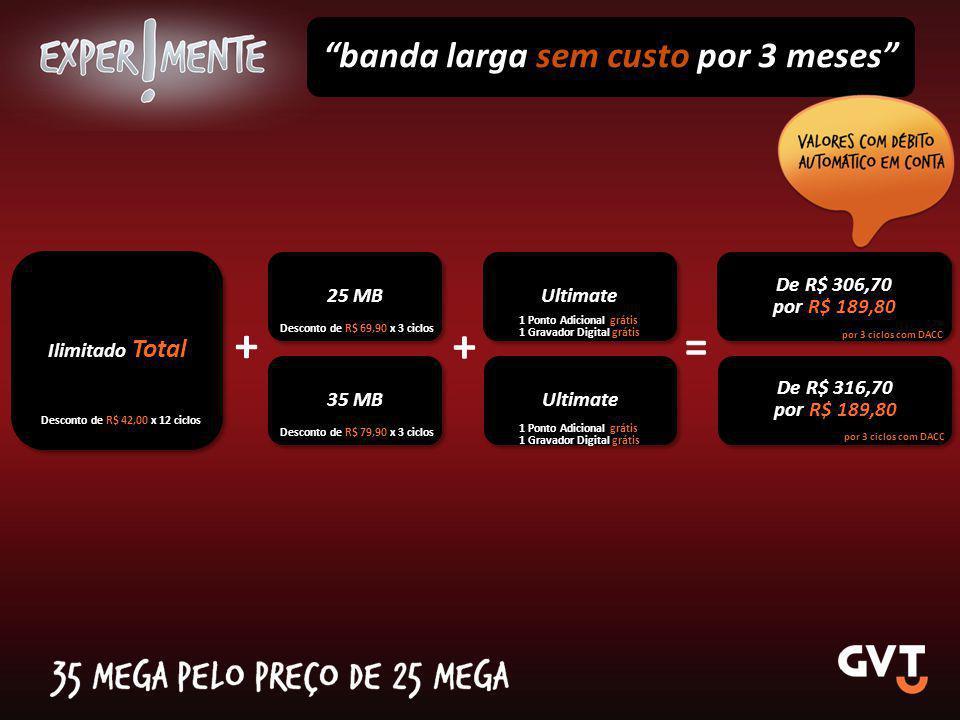 """Ilimitado Total + """"banda larga sem custo por 3 meses"""" 25 MB De R$ 306,70 por R$ 189,80 De R$ 306,70 por R$ 189,80 Desconto de R$ 69,90 x 3 ciclos = +"""