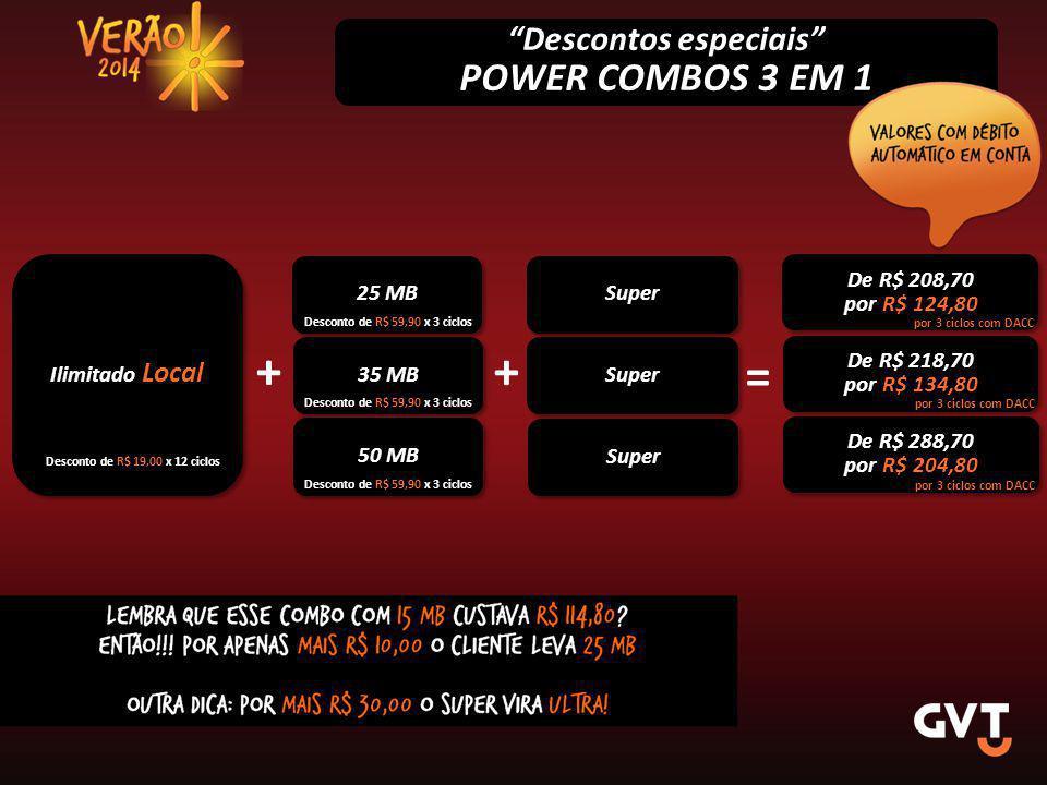 Descontos especiais POWER COMBOS 3 EM 1 Ilimitado Local 25 MB De R$ 208,70 por R$ 124,80 De R$ 208,70 por R$ 124,80 Desconto de R$ 19,00 x 12 ciclos Desconto de R$ 59,90 x 3 ciclos por 3 ciclos com DACC 35 MB + De R$ 218,70 por R$ 134,80 De R$ 218,70 por R$ 134,80 = Desconto de R$ 59,90 x 3 ciclos por 3 ciclos com DACC + 50 MB De R$ 288,70 por R$ 204,80 De R$ 288,70 por R$ 204,80 Desconto de R$ 59,90 x 3 ciclos por 3 ciclos com DACC Super