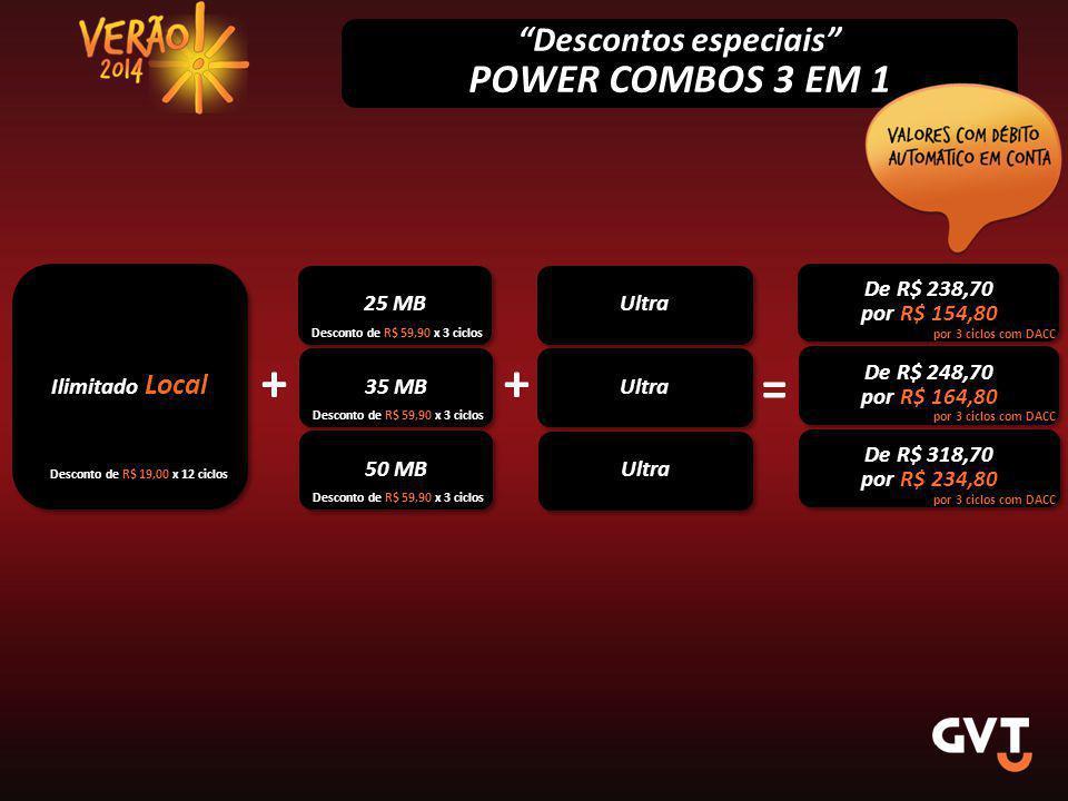 Descontos especiais POWER COMBOS 3 EM 1 Ilimitado Local 25 MB De R$ 238,70 por R$ 154,80 De R$ 238,70 por R$ 154,80 Desconto de R$ 19,00 x 12 ciclos Desconto de R$ 59,90 x 3 ciclos por 3 ciclos com DACC Ultra 35 MB + De R$ 248,70 por R$ 164,80 De R$ 248,70 por R$ 164,80 = Desconto de R$ 59,90 x 3 ciclos por 3 ciclos com DACC + 50 MB De R$ 318,70 por R$ 234,80 De R$ 318,70 por R$ 234,80 Desconto de R$ 59,90 x 3 ciclos por 3 ciclos com DACC Ultra