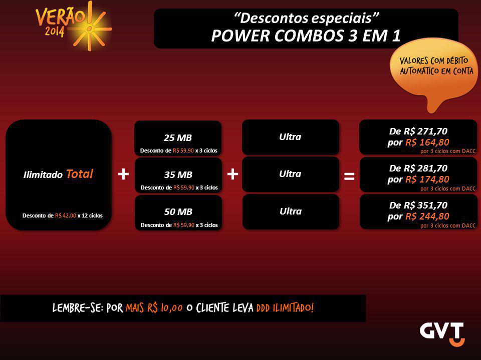 Descontos especiais POWER COMBOS 3 EM 1 Ilimitado Total 25 MB De R$ 271,70 por R$ 164,80 De R$ 271,70 por R$ 164,80 Desconto de R$ 42,00 x 12 ciclos Desconto de R$ 59,90 x 3 ciclos por 3 ciclos com DACC 35 MB + De R$ 281,70 por R$ 174,80 De R$ 281,70 por R$ 174,80 = Desconto de R$ 59,90 x 3 ciclos por 3 ciclos com DACC + 50 MB De R$ 351,70 por R$ 244,80 De R$ 351,70 por R$ 244,80 Desconto de R$ 59,90 x 3 ciclos por 3 ciclos com DACC Ultra