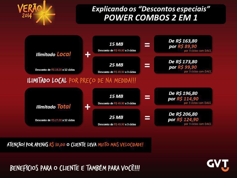 """Explicando os """"Descontos especiais"""" POWER COMBOS 2 EM 1 Ilimitado Local 15 MB + De R$ 163,80 por R$ 89,90 De R$ 163,80 por R$ 89,90 25 MB De R$ 173,80"""